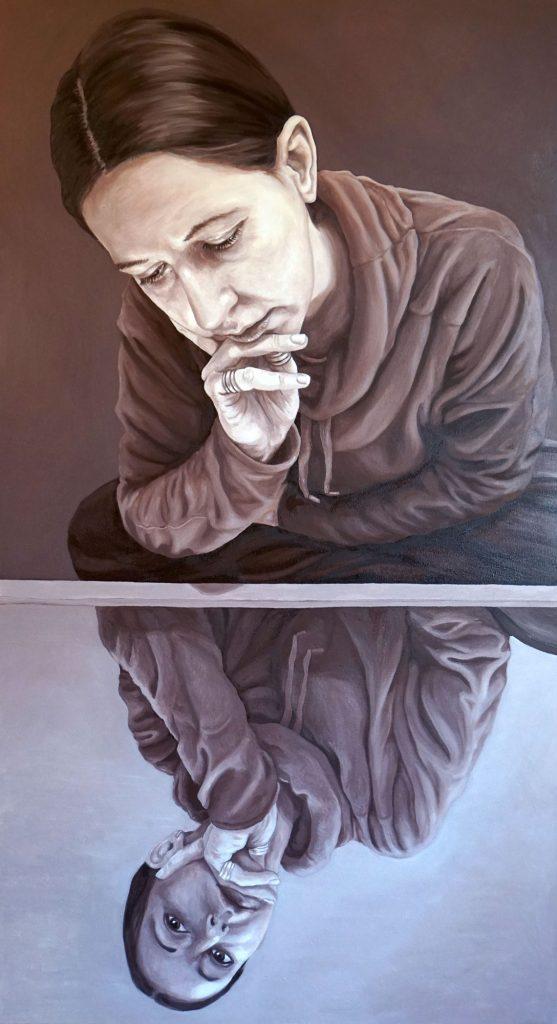LOCKDOWN REFLECTIONS 01, Bombardelli, woman, portrait, painting