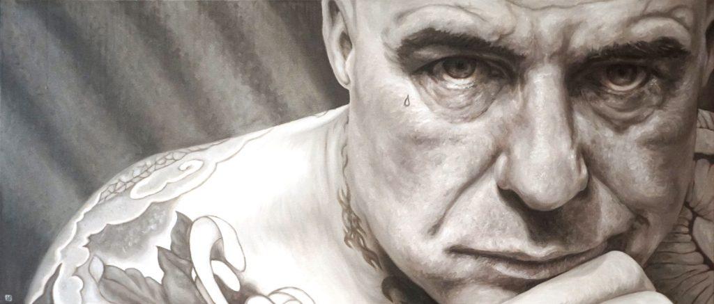 LOCKDOWN CAGE, Bombardelli, man, portrait, painting