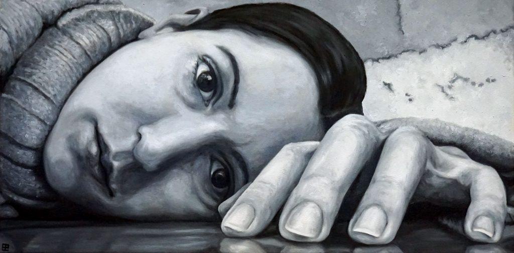 ZEITGEIST 02, Bombardelli, autoportrait, woman, painting