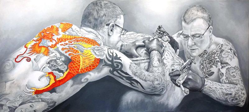 RED DRAGON, Bombardelli, tattoo, portrait, painting