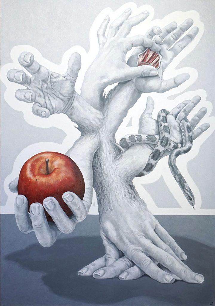 ADAMO ED EVA, Bombardelli, hands, apple, painting, tree